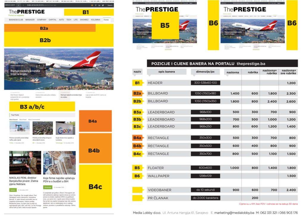 Cjenovnik za sajt Prestige.ba