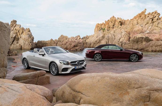 Mercedes-Benz E-Klasse Cabriolet; 2017; aragonitsilber und rubellitrot Mercedes-Benz E-Class Cabriolet; 2017; aragonite silver and rubellite red