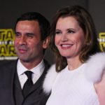 "HOLLYWOOD, CA - DECEMBER 14:  Reza Jarrahy and Geena Davis attend the premiere of Walt Disney Pictures and Lucasfilm's ""Star Wars: The Force Awakens"" at the Dolby Theatre on December 14th, 2015 in Hollywood, California.  (Photo by Frazer Harrison/Getty Images)"
