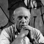 "FRANCE. Paris. Rue des Grands Augustins. Pablo PICASSO at his studio in front of ""La Cuisine"". 1948.  P-FR-PIC-003[lF][lF]Contact email: New York : photography@magnumphotos.com Paris : magnum@magnumphotos.fr London : magnum@magnumphotos.co.uk Tokyo : tokyo@magnumphotos.co.jp   Contact phones: New York : +1 212 929 6000 Paris: + 33 1 53 42 50 00 London: + 44 20 7490 1771 Tokyo: + 81 3 3219 0771   Image URL: http://www.magnumphotos.com/Archive/C.aspx?VP3=ViewBox_VPage&IID=2S5RYD21HSI&CT=Image&IT=ZoomImage01_VForm"