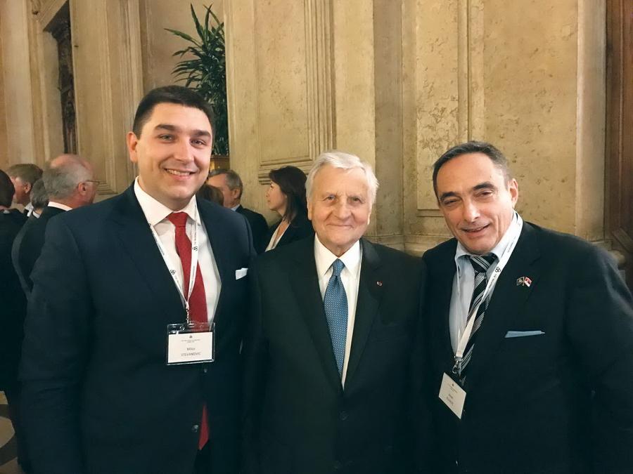Stevanović, Žan Klod Triše, predsjednik Trilateralne komisije za Evropu i Jovan Kovačić
